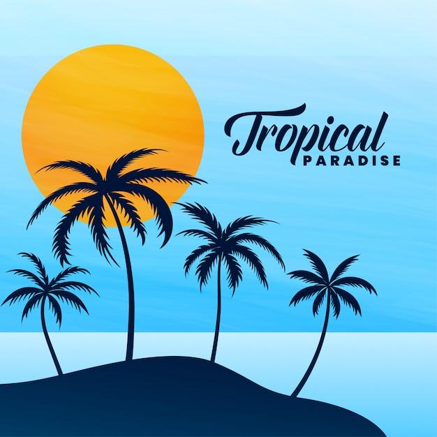 Tropische paradies-sommerkarte Kostenlosen Vektoren