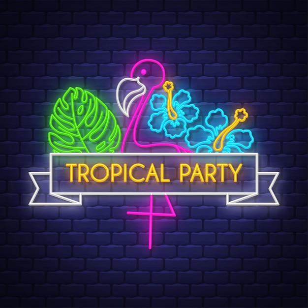 Tropische party. leuchtreklame schriftzug Premium Vektoren