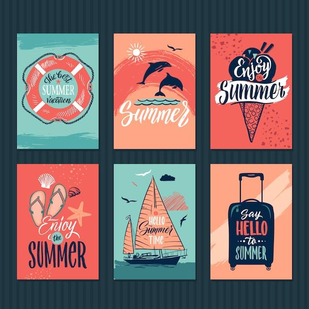 Tropische postkarten Premium Vektoren