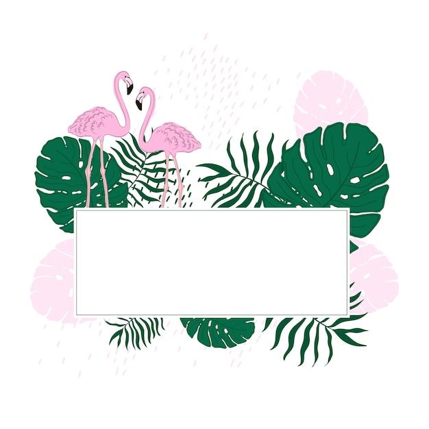 Tropische rahmenblätter und flamingo-sommer-fahne Premium Vektoren