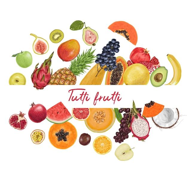 Tropische sammlung der frischen saftigen frucht Premium Vektoren