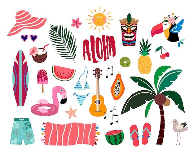 Tropische sommerelemente, hand gezeichnete sammlung mit den verschiedenen einzelteilen lokalisiert Premium Vektoren