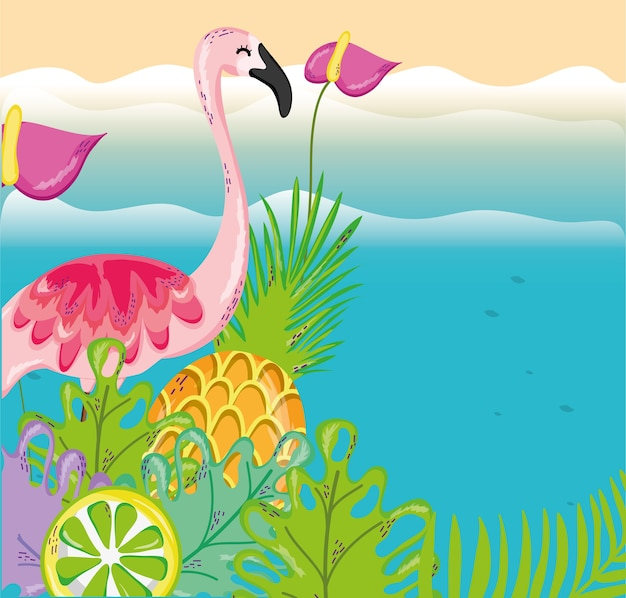 Tropische strand landschaft thema cartoon Premium Vektoren