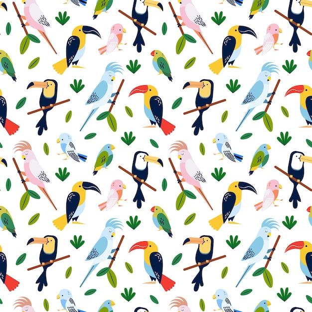 Tropische vögel - nahtloses musterdesign Premium Vektoren