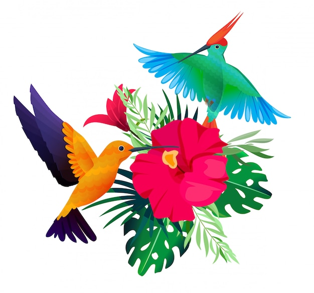 Tropische vogelpflanzen. exotischer farbiger hintergrund mit papageien und kolibris, die auf blättern und blumen sitzen Premium Vektoren