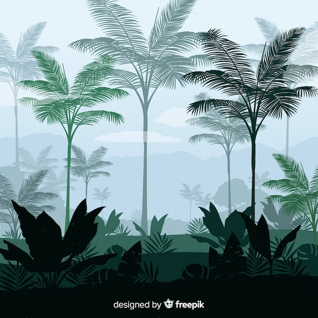Tropische waldlandschaft des hintergrundes Kostenlosen Vektoren