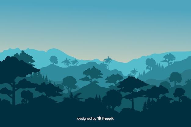 Tropische waldlandschaft mit bergen Kostenlosen Vektoren