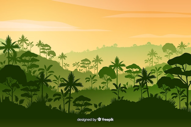 Tropische waldlandschaft mit dichtem wald Kostenlosen Vektoren