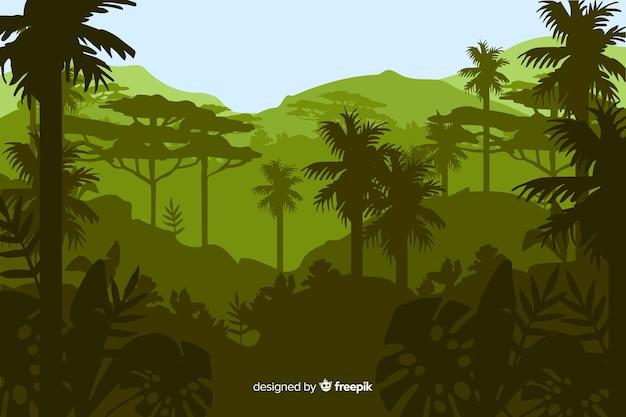 Tropische waldlandschaft mit vielen palmen Kostenlosen Vektoren