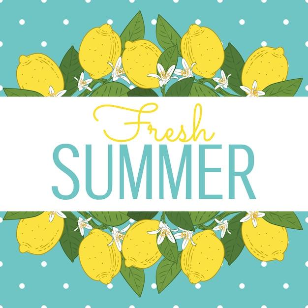 Tropische zitrusfruchtzitrone trägt helle sommerkarte früchte Premium Vektoren