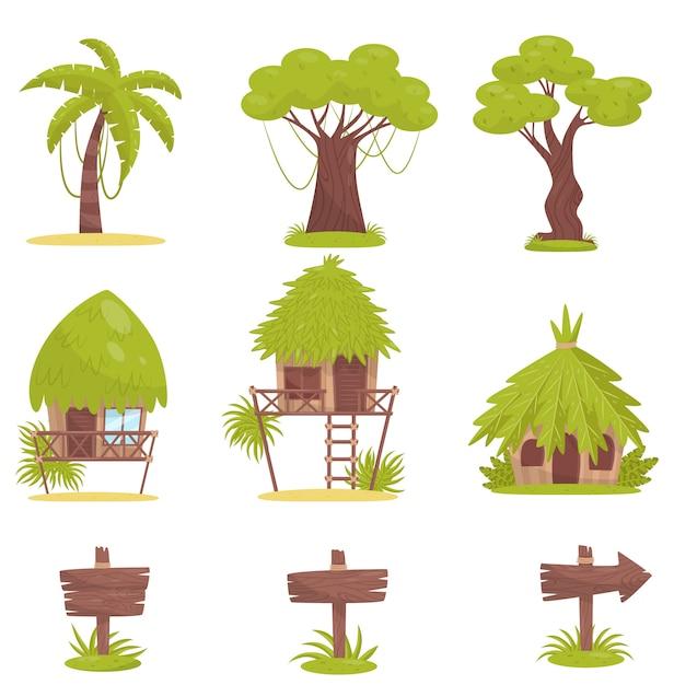 Tropischer baum, bungalows und alte hölzerne straßenschilder, elemente der tropischen dschungelwaldlandschaftsillustration auf einem weißen hintergrund Premium Vektoren