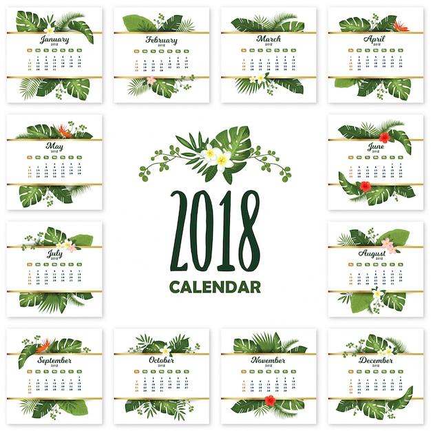 Tropischer bedruckbarer kalender für 2018 jahre mit exotischen blättern und blumen Premium Vektoren