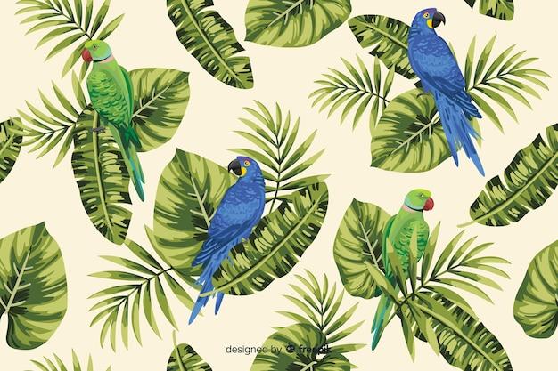 Tropischer blätter- und papageienhintergrund Kostenlosen Vektoren