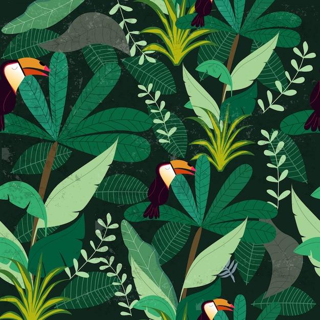 Tropischer botanischer dschungelwald Premium Vektoren