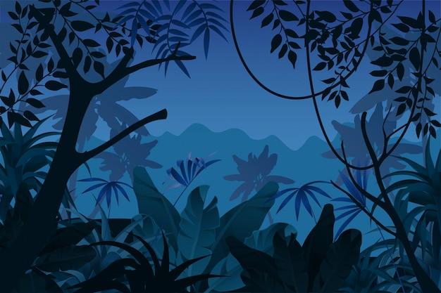 Tropischer dschungel der spielhintergrundnacht. Kostenlosen Vektoren