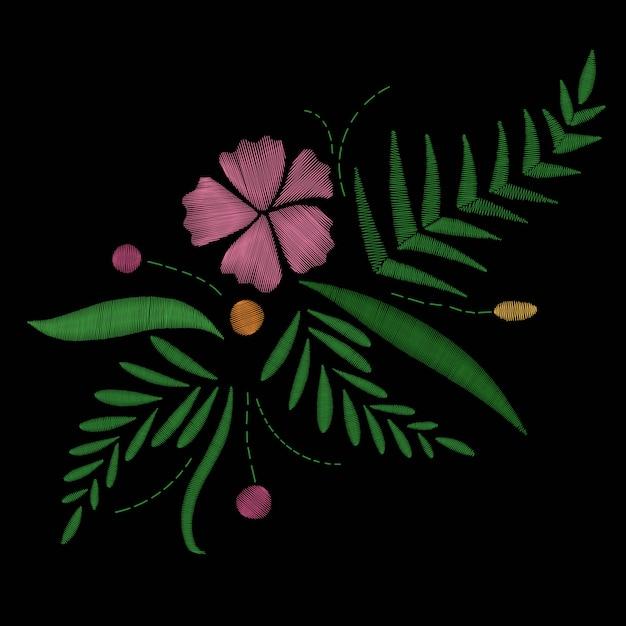 Tropischer exotischer blühender blumenstrauß der hawaii-blumenstickerei Premium Vektoren