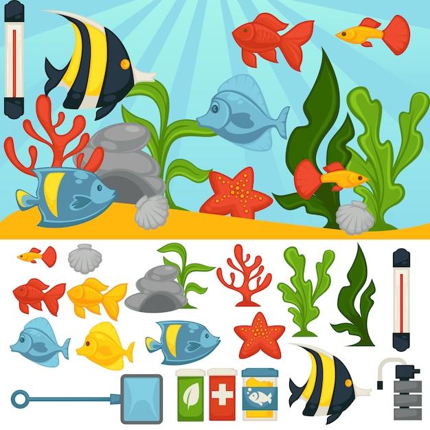 Tropischer fisch- und pflanzenvektorzugriffssatz des aquariums Premium Vektoren