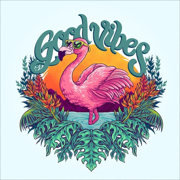 Tropischer flamingo Premium Vektoren