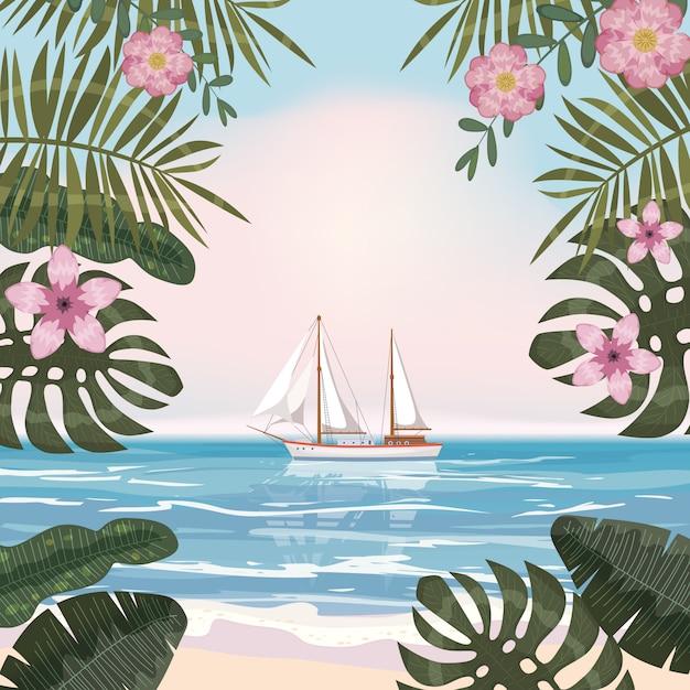 Tropischer hintergrund des sommers mit exotischen blumenpflanzen verlässt palme, strandozeansegelboot Premium Vektoren