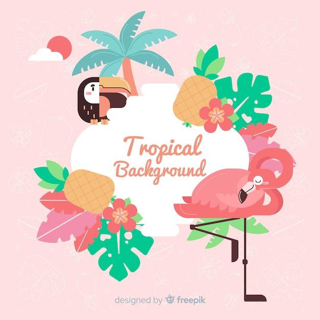 Tropischer hintergrund mit flamingo und blumen Kostenlosen Vektoren