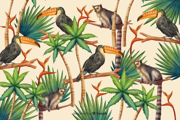 Tropischer hintergrund mit tieren Kostenlosen Vektoren