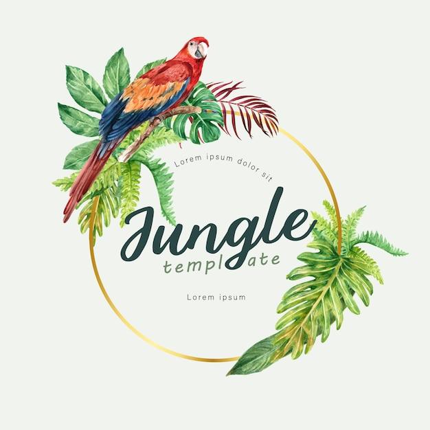 Tropischer kranzstrudelsommer mit dem exotischen pflanzenlaub, kreatives aquarell Kostenlosen Vektoren