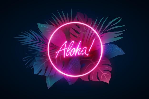 Tropischer neon-schriftzug mit blättern oder blüten Kostenlosen Vektoren