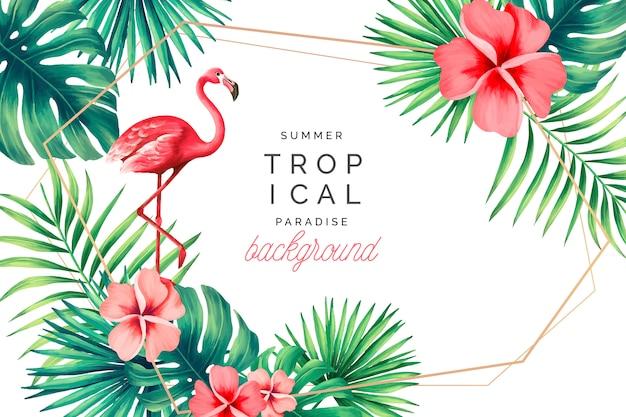 Tropischer paradies-hintergrund mit flamingo Kostenlosen Vektoren