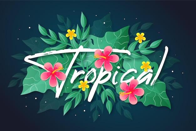 Tropischer schriftzug mit blumen Kostenlosen Vektoren