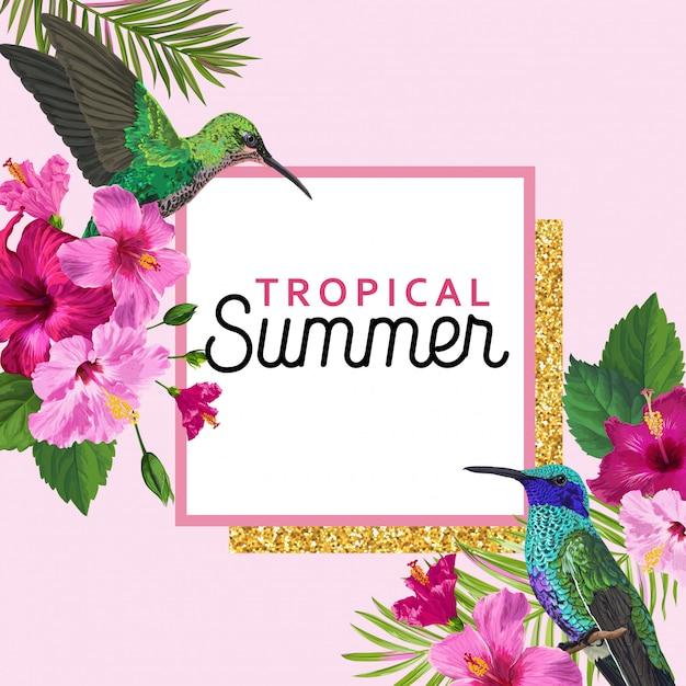 Tropischer sommer-blumenplakat mit kolibri Premium Vektoren