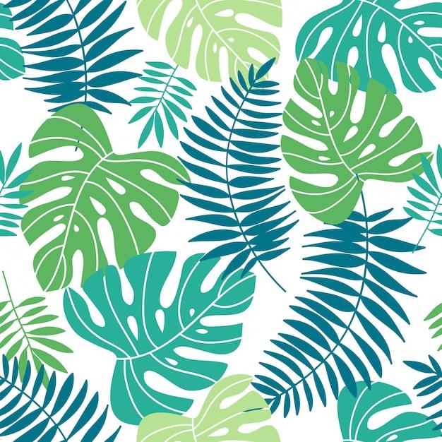 Tropischer sommer lässt nahtloses muster Premium Vektoren
