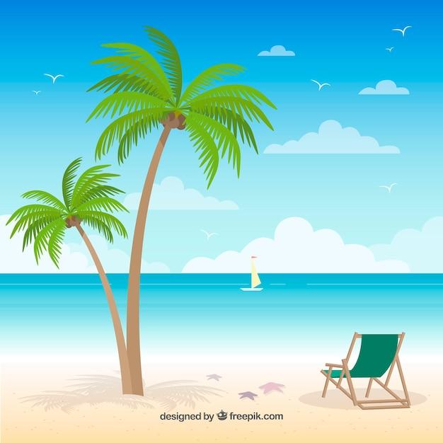 Tropischer strand des paradieses mit flachem design Kostenlosen Vektoren