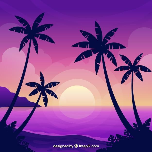 Tropischer strand des paradieses mit reizendem sonnenuntergang Kostenlosen Vektoren