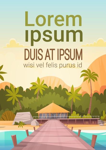 Tropischer strand mit wasser-bungalow-haus-landschaft Premium Vektoren