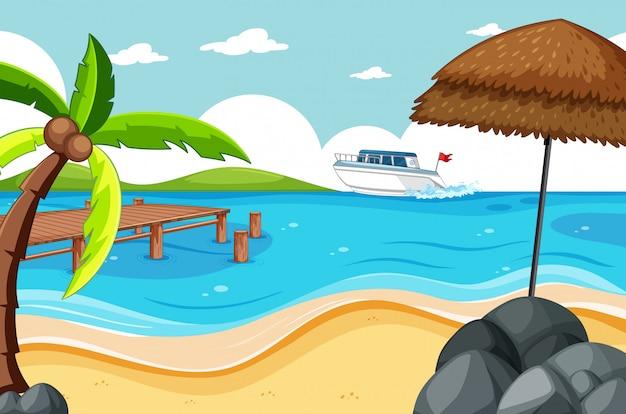 Tropischer strand und sandstrandszene-karikaturstil Kostenlosen Vektoren