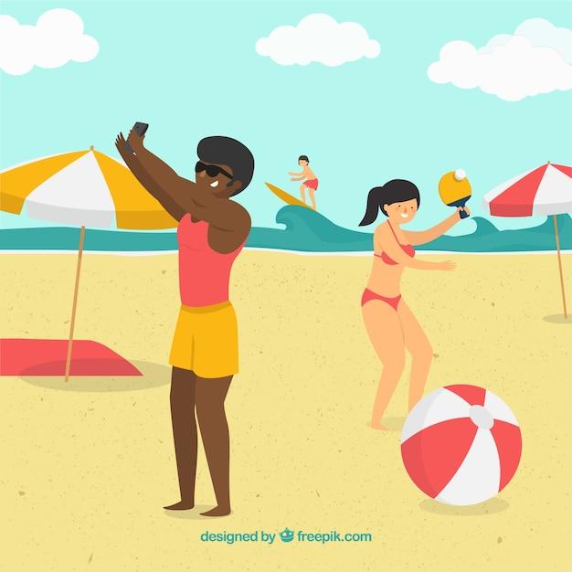 Tropischer strandhintergrund mit den leuten, die spaß haben Kostenlosen Vektoren