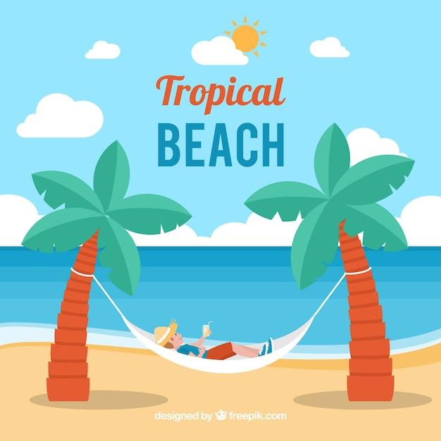 Tropischer strandhintergrund mit hängematte Kostenlosen Vektoren