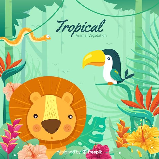 Tropischer tier- und vegetationshintergrund Kostenlosen Vektoren