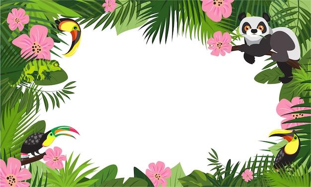 Tropischer tierregenwaldkonzept-rahmenhintergrund, karikaturart Premium Vektoren