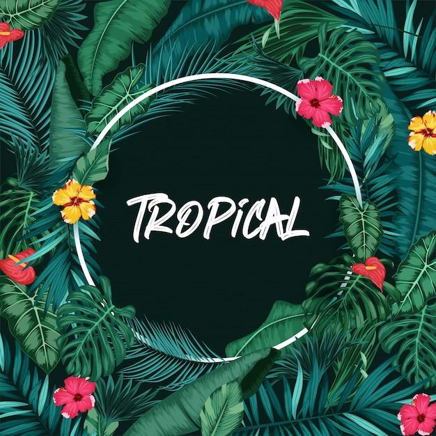 Tropischer wald mit rundem rahmen auf schwarzem hintergrund Premium Vektoren