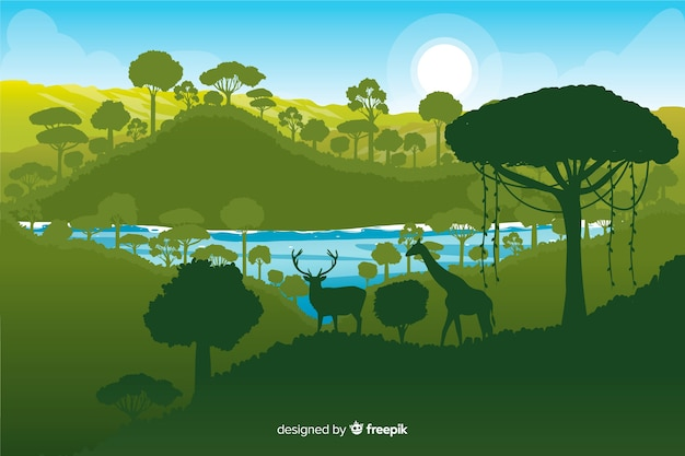 Tropischer waldhintergrund mit verschiedenen grünen schatten Kostenlosen Vektoren