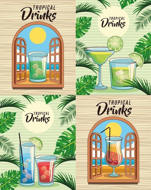 Tropisches cocktailgetränkeset Premium Vektoren