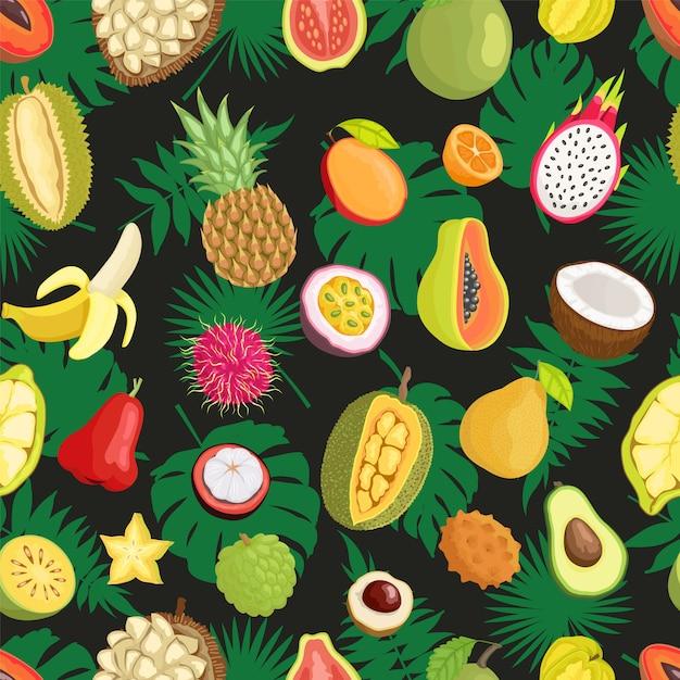 Tropisches exotisches frucht-grünes blatt-nahtloses muster Premium Vektoren