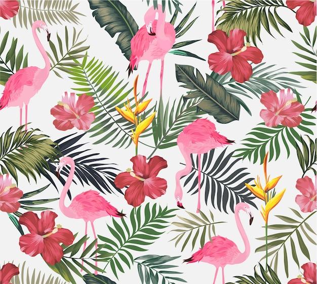 Tropisches exotisches mit nahtlosem muster des flamingos Premium Vektoren