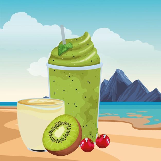 Tropisches frucht- und smoothiegetränk Kostenlosen Vektoren