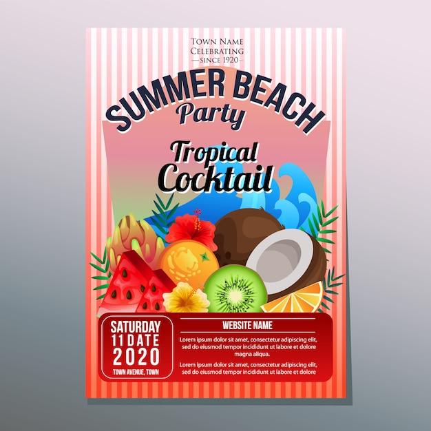 Tropisches fruchtcocktail der sommerstrandfestfeiertagsplakat-schablone Premium Vektoren