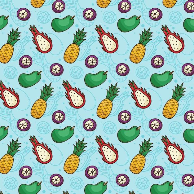 Tropisches fruchtmuster ananas, mango, drachenfrucht, mangostan Premium Vektoren