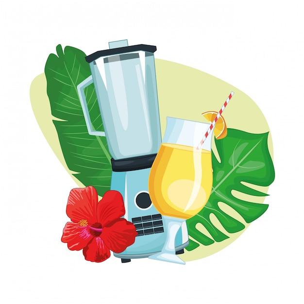 Tropisches getränk mit regenschirm und mixer Premium Vektoren