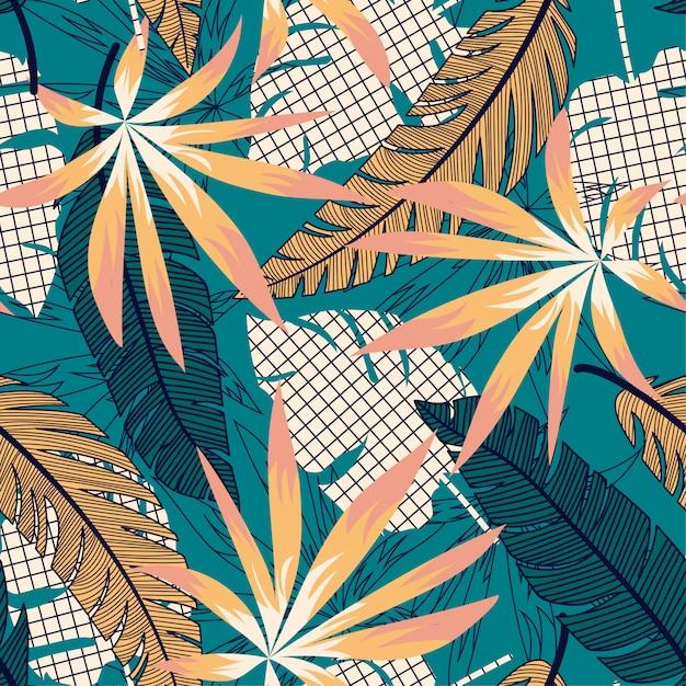 Tropisches helles nahtloses muster mit bunten blättern und anlagen Premium Vektoren