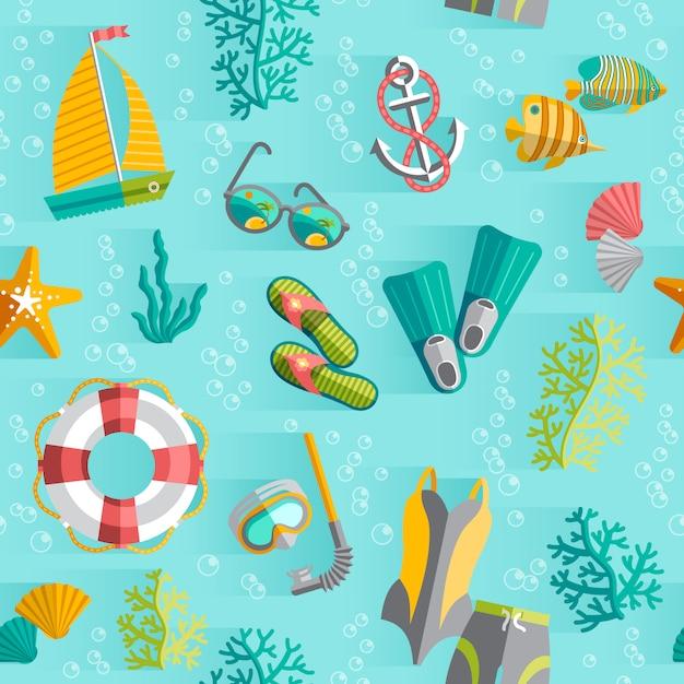 Tropisches inselandenkenverpackungs-nahtloses muster mit schwimmenanzug und tauchensschnorchel Kostenlosen Vektoren